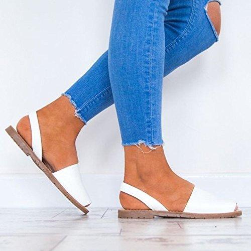 Tongs Flops Grande Minetom Poissons Chaussures Mode Femme Daim Romaines de Bouche Sandales Blanc Élégant Taille Été Flip Plage Plate x4wZ6x1