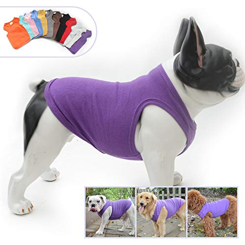 Lovelonglong 2019 Summer Pet Clothing, Dog Clothes Blank T-Shirts Ribbed Tanks Top Thread Vests for Large Medium Small Dogs 100% Cotton Purple L