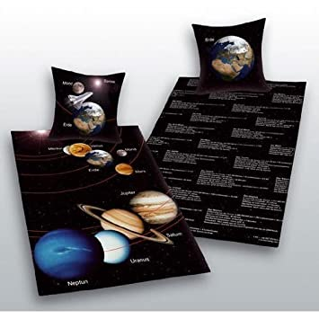 Sonnensystem Bettwäsche Herding Sonne Mond Mars Geschenk 140 X 200