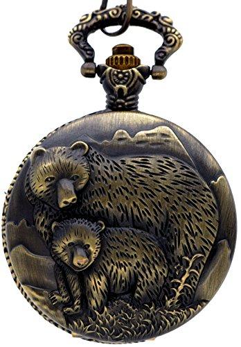 New Brand Mall Classic Vintage Bronze Two Bears Antique Quartz Pocket Watch