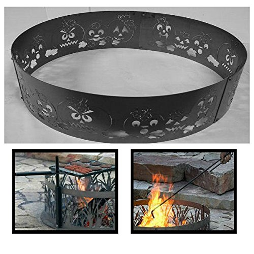 PD Metals Steel Campfire Fire Ring Autumn Harvest Design - Unpainted - with Fire Poker and Cooking Grill - Large 48 d x 12 h Plus Free eGuide by PD Metals