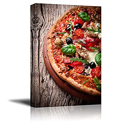 Canvas Prints Wall Art - Delicious Italian Pizza Served on Wooden Table | Modern Wall Decor/Home Art Stretched Gallery Canvas Wraps Giclee Print & Ready to Hang - 24