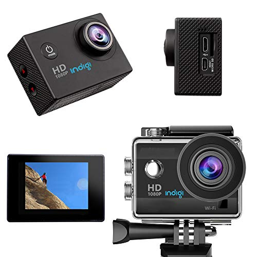 indigi New 4K Sports Action Camera - Waterproof - 4K/1080p/720p - WiFi Remote Shutter & Live View from iOS and Android Devices