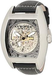 Akribos XXIV Men's AKR454SS Premier Skelton Automatic Tourneau Shaped Watch