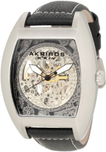 Akribos XXIV Men's AKR454SS Premier Skelton Automatic Tourneau Shaped Watch