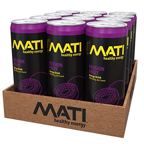 MATI Low Calorie Natural Healthy Energy Drink 12 Ounce (Passion Fruit, 12 Pack)