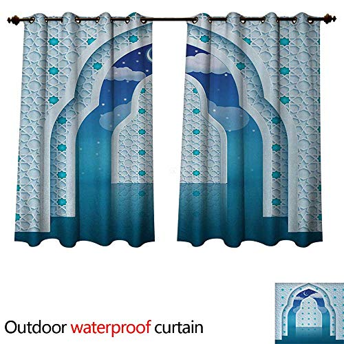 Moroccan 0utdoor Curtains for Patio Waterproof Eastern Arabic Quote Textured Arch Door with Cloudy Star Sky Night Backdrop Print W72 x L72(183cm x 183cm)