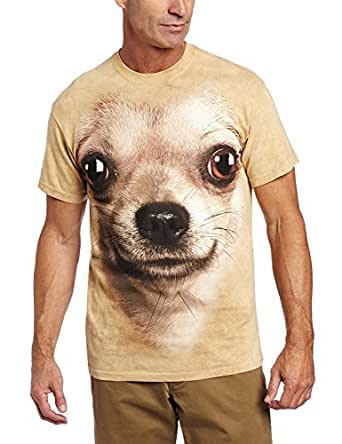 The Mountain Chihuahua Face Adult T-Shirt, Sand, Small