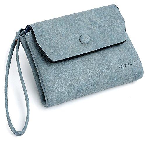 (UTO Women Wristlet Small Wallet Compact Matte PU Leather Card Slot Zipper Coin Holder Purse Blue)