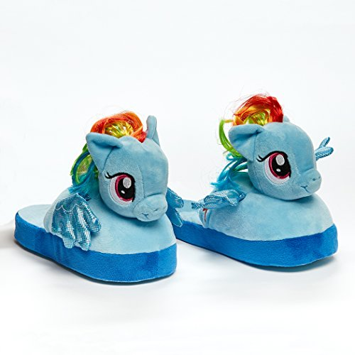Animated My Little Pony Plush Slippers - Ultra Soft and Fuzzy Rainbow Dash Character - Wings Flap as You Walk - by Stompeez