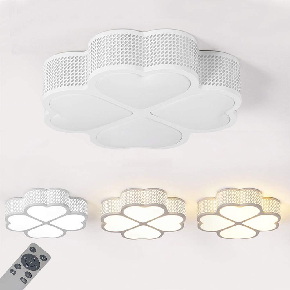 WYBAN 72W Regulable LED moderna Lá mpara de ahorro de energí a Lá mparas de techo de diseñ o de tré bol de 4 hojas Perfecta para sala de estar dormitorio cocina luz de techo, Blanco (Blanco, 72W Regulable)