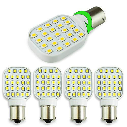 4 Pack Rotating Super Bright 300 Lumen 1141 1156 Wedge RV Interior LED Light 24-SMD Camper Trailer Lamp Bulb 10-24V Natural White (4)