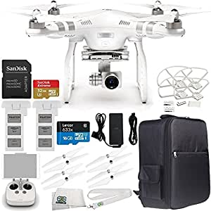 DJI Phantom 3 Advanced Quadcopter Drone with 1080p HD Video Camera & Manufacturer Accessories + Extra DJI Flight Battery + DJI Propeller Set + Water-Resistant Backpack for DJI Phantom 3 Series + MORE