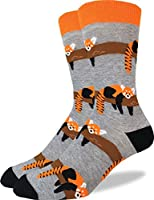 Good Luck Sock Men's Red Panda Crew Socks - Grey, Adult Shoe Size 7-12
