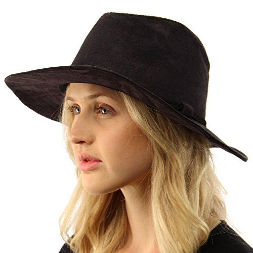 Winter Fall Faux Suede Panama Fedora Safari Bohoemian Belt Wide Brim Hat Black