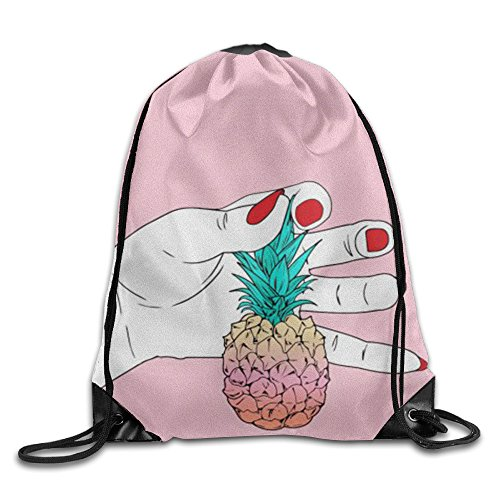 XIUHUA New Drawstring Backpack Woman Red Nail Polish Pineapple Gym Sack Bag Drawstring Backpack Sport Bag For Men & Women School Travel Backpack 17