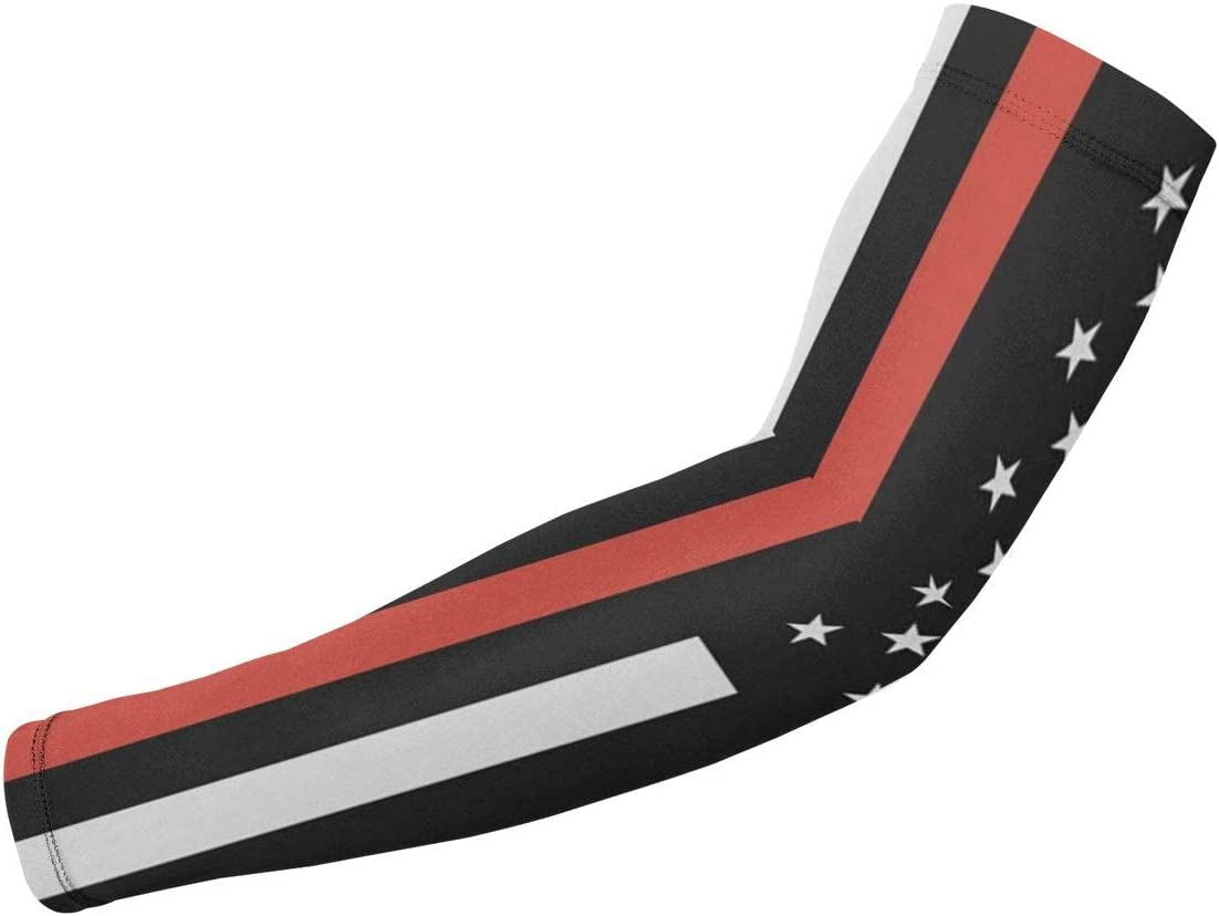 UV Protection Cooling Arm Sleeves For Men Women Kids Long Tattoo Arm Cover Red Black Thin Line American Firefighter Flag Sun Protection Sunblock Cooler Volleyball Protective Gloves Sunscreen 1 Pair