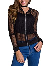 Women's Casual See Through Lace Patchwork Zip Up Bomber Jacket Short Coat Tops