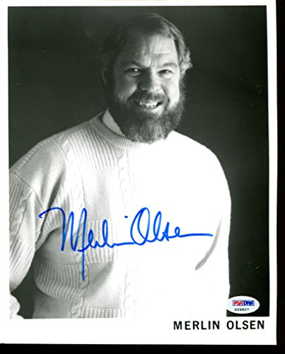 Merlin Olsen Signed Photo 8x10 Autographed Rams PSA/DNA X26827 - Merlin Olsen Autographed Rams