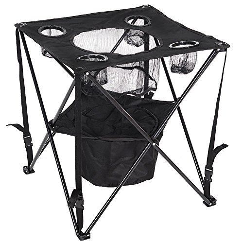 Lazy Daze Hammocks Patio Outdoor Collapsible Camping Foldable & Portable Tailgate Table with Insulated Cup and Cooler Holder (Tail 22 Holder)