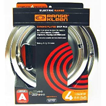 Range Kleen 10124xn Style A 4 Pack Drip Pans Chrome Replacement