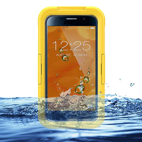 Otter Waterproof Box (Eazewell Samsung Galaxy S6 Waterproof Case,Ultra-Slim IP68 Water Resistant Rugged Cover Shockproof Dustproof Snowproof Protective Shield Dry Box Hard Pouch for Samsung Galaxy S6 SVI SM-G920 (Yellow))