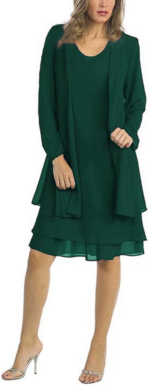 Babyonlinedress Damen Brautmutterkleider mit Jacke Chiffon Hochzeitskleid 2 St/ück Ballkleid