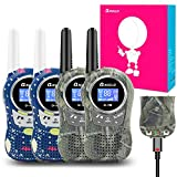 Qniglo Rechargeable Walkie Talkies, 22 Channel FRS Two Way Radio Long Range Walkie Talkies for Kids Adults (Camo Blue+Camo Green, 4 Pack)