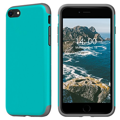 KUUFER Two-Layer Defender Case with Matte Surface Great for Grip for Apple iPhone 7, iPhone 8 (blue) (028 Matte)