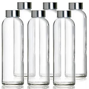 MEGALOWMART Glass Bottle Set Without Strap (Pack of 6)