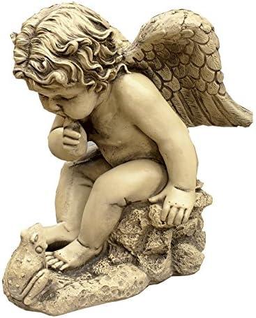 CATART Figura Decorativa Ángel con Rana en hormigón-Piedra para el jardín Exterior 38X46cm.: Amazon.es: Jardín