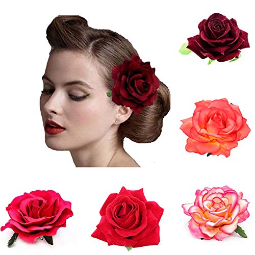 Ever Fairy Bride Women Rose Flower Wreath Crown Hairband Wedding Garland Elastic Headband Hair Accessories (5 Color pack A)