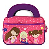 iPad Mini Slim Tablet Case Kids - Universal Neoprene Carrying Bag Tote Dual Handles Boy Girl - Zipper Sleeve will fit most 6 7 Inch devices Water Scratch Dust Proof (Super Hero Princess)