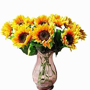 "Mynse 10 Pieces 24.5"" Artificial Flowers Single Silk Sunflowers 5"