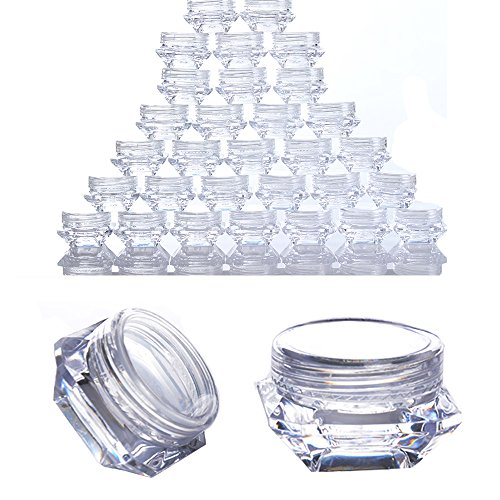 Born Pretty 30PCS 3G Clear Plastic Jars,Nail Art Cosmetic Li