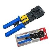 FANISI Crimp Tool Pass Through 8P RJ-45 and 6P RJ-12 Cable Crimp Cut Strip