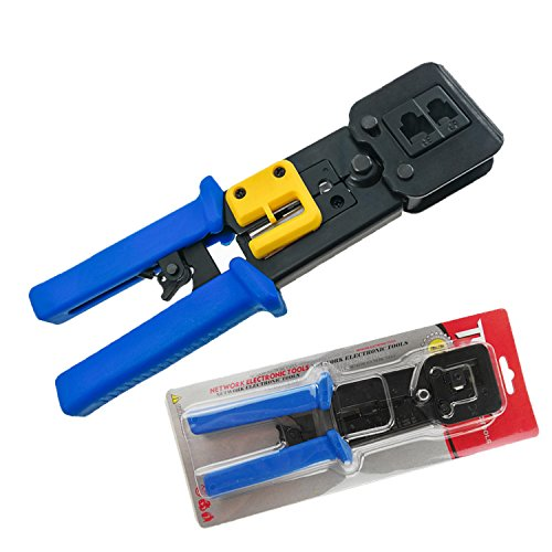 FANISI Crimp Tool Pass Through 8P RJ-45 and 6P RJ-12 Cable Crimp Cut Strip (Tool 45 Rj Crimp Use)