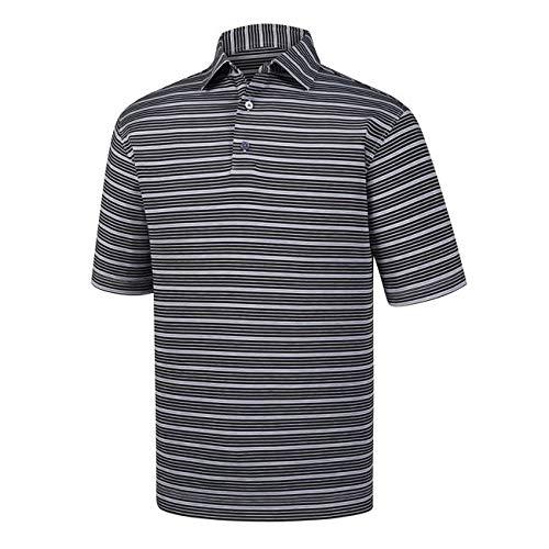 (FootJoy Lisle Multi Stripe Self Collar Polo Golf Shirt (Black, Large))