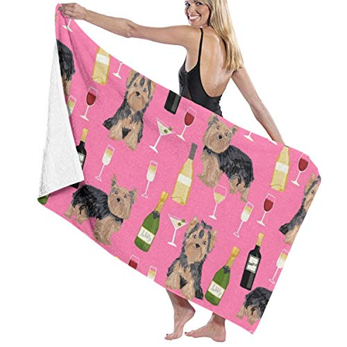 - Yorkshire Terrier Wine Yorkie Dog Dogs Breeds Pink Microfiber Pool Beach Towel Quick Dry Beach Towel for Adult 32 X 52 Inch