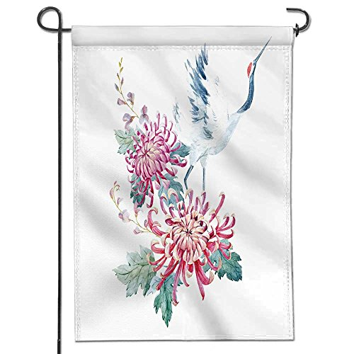 AmaPark Welcome Pineapple Garden Flag| Double-sided,watercolor illustration of chrysanthemum flowers and a crane asian motif Great Design Yard Flag 12