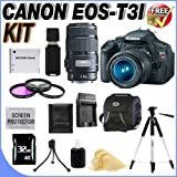 Canon EOS Rebel T3i 18 MP CMOS Digital SLR Camera and DIGIC 4 Imaging with EF-S 18-55mm f/3.5-5.6 IS Lens and Canon EF 75-300mm f/4-5.6 III Telephoto Zoom Lens (2 Lens Kit!!!!) W/32GB SDHC Memory+ Extra LPE8 Battery + AC/DC Charger + 3 Piece 58MM Filter Kit + Deluxe Case w/Strap + Full Size Tripod + USB Card Reader + Memory Card Wallet + Accessory Kit !, Best Gadgets