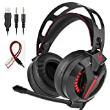 VIKMOSH Gaming Headset for Xbox One,PS4, Noise Cancellation Surround Sound Over Ear Headphones with Mic Mute and Led Light,Wired 3.5MM Jack Gaming Headphones for PC,Laptops,Mac,Ipad,iPhone 5,6 (Black)