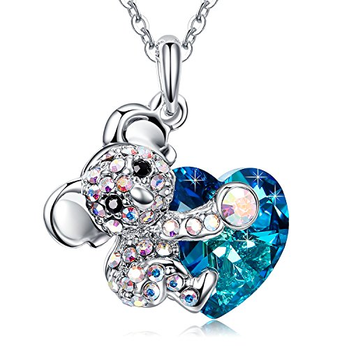 Koala Bear Animal - MEGA CREATIVE JEWELRY Koala Bear Blue Heart Pendant Necklace with Crystals from Swarovski