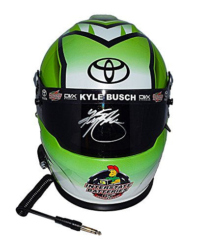 Busch Autograph (AUTOGRAPHED 2017 Kyle Busch #18 Interstate Batteries Racing (Joe Gibbs Team) Monster Energy Cup Series Signed Lionel NASCAR Replica Full-Size Helmet with COA)