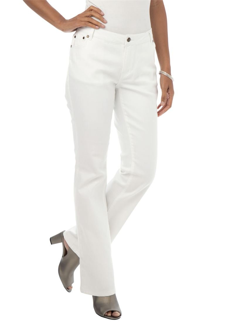 Jessica London Women's Plus Size Petite True Fit Bootcut Jeans White Denim,18 P
