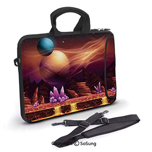 17 inch Laptop Case,Fantasy Spot with Golden River in Mars with Nebula and Other Planets Solar Zodiac Theme Neoprene Laptop Shoulder Bag Sleeve Case with Handle and Carrying & External Side Pocket,for
