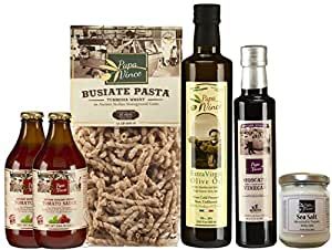 Gourmet Gift for Foodies - from artisans in Sicily, Italy. Extra Virgin Olive Oil, Moscato Balsamic Vinegar, Ancient Grain Tumminia Pasta, Cherry Tomato Sauce, Trapani Sea Salt - Papa Vince