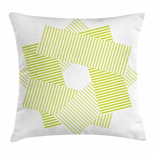 Dick Sidney Yellow Green Throw Pillow Cushion Cover, Kusuhara Pattern with Abstract Hexagon Shape in the Middle with Lines, Decorative Square Accent Pillow Case Lime Green White by Dick Sidney