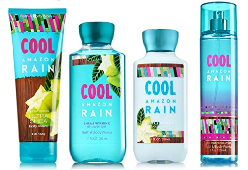 COOL AMAZON RAIN Deluxe Gift Set - Signature Collection - Bath & Body Works - Body Lotion - Body Cream - Fragrance Mist & Shower Gel Full Size