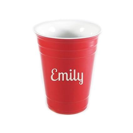 Cup Personalized Ceramic Ceramic Cup Personalized Solo Red Personalized Red Solo nwO8P0kXZN